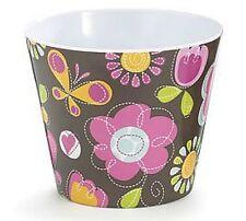 """Doodle Flowers Melamine Pot Cover 4 1/2"""""""