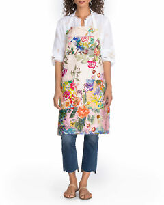 Johnny Was Dreamer printed APRON Light Floral Cotton Home Goods Kitchen Lt NEW