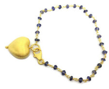 Iolite Gemstone gold overlay on solid Sterling Silver Bracelet, New, Heart. UK.
