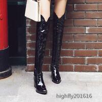 Lackleder Damenschuhe Winter Stiefel Stiefeletten Blockabsatz Top Glitzer Neu