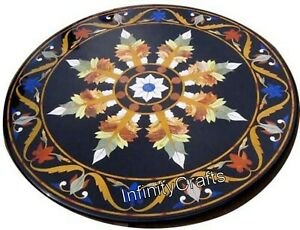 30 Inches Marble Inlay Table Top Floral Design Coffee Table Top with Decent Look