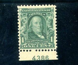 USAstamps Unused VF US Serie of 1902 Franklin Plate # Scott 300 OG MNH