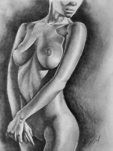 Nude Female Pencil Drawing Body Art Original Signed Picture Sketch Bodyscape