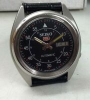 SEIKO 5 AUTOMATIC MENS STEEL VINTAGE JAPAN MADE BLACK DIAL WATCH RUN ORDER h