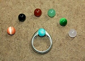 Sterling Silver (7) Interchangeable Gemstone Ring Signed SD Size 5.5 [051WEI]