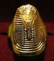 VINTAGE WIDE GOLD  King Tut Egyptian Pharaoh  INTAGLIO Sterling Silver Ring