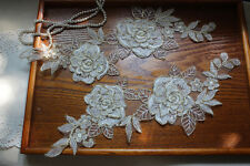 1Pair  Ivory &Gold 3D Corded Embroidered Lace Applique ,Lace Pacth for Wedding