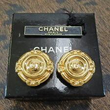 CHANEL Gold Plated CC Logos Vintage Round Clip Earrings #5622a Rise-on