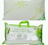 Bamboo Memory Foam Pillow Bamboo Fabric Casing Comfort Soft Firm Support Neck