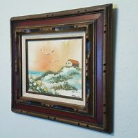"""Oil Painting Signed Sunset Seascape Ocean Beach Ornate Wood 3D Framed 17"""" Blue"""
