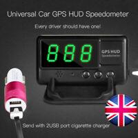 Car GPS Speedometer Odometer HUD Overspeed Warning Alarm +USB Charger - UK Stock