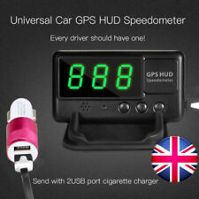 Car GPS Speedometer Odometer HUD Overspeed Warning Alarm +USB Charger - UK Stock