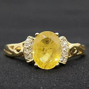 Genuine 1.55ctw Canary Yellow Sapphire & H-SI Diamond 14K Yellow Gold 925 Ring