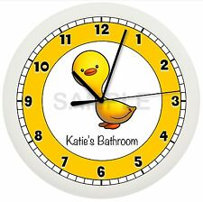 Yellow Duck Wall Clock Bathroom Decor Personalized Kids Bedroom Art Bird