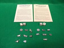 1973 Monopoly Instruction Manuals & Lot of 19 Vintage Metal Pieces Game Dice