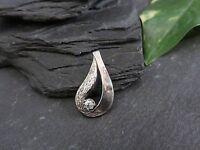 Schöner 925 Silber Anhänger Zirkonia Struktur Glatt Rau Modern Tropfenform Edel