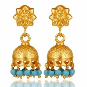 Flower Carving Jhumka Earrings with Turquoise Gemstone Silver Wedding Jewelry