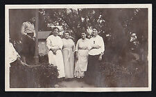 Antique Photograph Young Boy Standing in Garden With Women in Cool Outfits