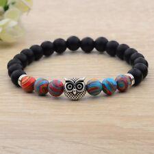 Natural Stone Beads Scrub Lava Bracelets Owl Agate Blue Malachite Rock Handmade