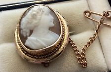 Beautiful Ladies Super Quality Antique 9 Carat Gold Cameo Brooch Lovely