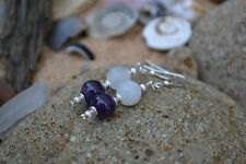 Handmade earrings with Sterling Silver, White Jade & Amethyst.