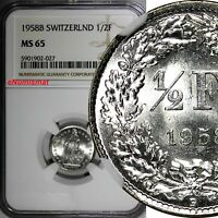 Switzerland Silver 1958 B 1/2 Franc Standing Helvetia NGC MS65 KM# 23 (027)