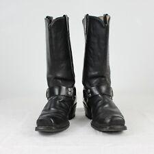 E33 Vtg Texas USA Men Black Western Cowboy Boots Leather UK7.5 US8.5 EU41