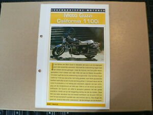 LM29- MOTO GUZZI CALIFORNIA 1100i INFO CARD SHEET MOTORCYCLE,MOTORRAD,MOTORFIETS