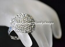 FASHIONABLE LARGE DOME CLEAR WHITE BLING RHINESTONES (OPEN BACK/ADJUSTABLE) RING