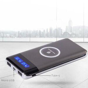 3000000mAh Power Bank Qi Wireless Charging 2 USB LED Portable Battery Charger US