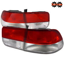 96-00 Honda Civic EK EM1 Coupe 2dr Si Red Clear Tail lights Frosted OE Style 4pc