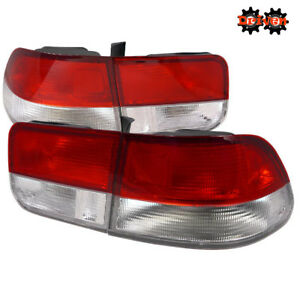 For 96-00 Honda Civic Coupe 2dr Si Red Clear Tail lights Frosted OE Style 4pc