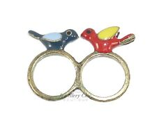 Retro Kitsch Two Love Birds Swallow Vintage Bronze Jewellery Double Finger Ring