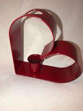 "Vintage 4.25"" Red Heart Taper Candle Holder Powder Coated Enamel Metal EUC"