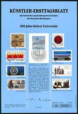 BUND KÜNSTLER-ETB 1988/13 KÖLN UNIVERSITÄT KÜNSTLER-ERSTTAGSBLATT LTD. EDITION