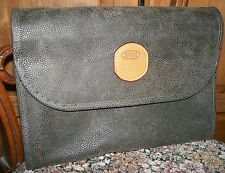 BRIC'S Life Olive Tri-Fold Traveler Case Toiletry Wash Bag Tan Leather Trim