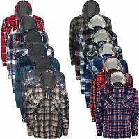 Mens Lumberjack Padded Shirt Sherpa Fur Lined Flannel Work Jacket Thick Hoodie