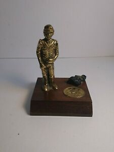 Vintage Brass WELSH COAL MINE MINER  FIGURE & COAL ON WOOD PLINTH