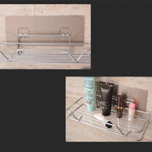 No Drilling Shower Storage Basket Self Adhesive Shelf Toilet Kitchen Basket HO3