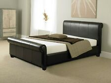 King Size Bed 5Ft Brown Faux Leather Double Bed With Luxury Memory Foam Mattress