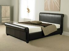 King Size Bed Frame 5Ft Brown PU Leather Modern Bed Luxury Bedroom Bedstead New