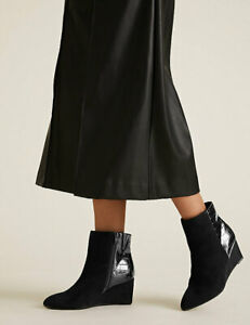 NEW M&S COLLECTION  Wide Fit Wedge Pointed Ankle Boots, SZ 7.5