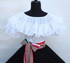 MEXICAN DRESS FIESTA,5 DE MAYO,WEDDING BLACK/WHITE OFF SHOULDER W/SASH 2 PIECE
