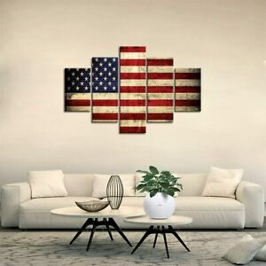American Flag Painting Canvas Patriotic Concept USA Wall Art Poster - 5 Pieces
