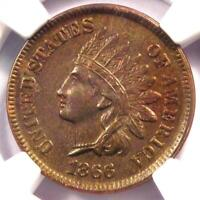 1866 Indian Cent 1C - NGC Uncirculated Details - Rare Early UNC MS Penny!
