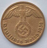 WWII Nazi Germany 1 Reichspfennig Swastika Eagle Bronz Coin Third 3. Reich WW2