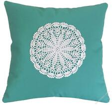 Aqua Doily Decorative Throw Pillow Cover/Cushion Cover / Cotton 20x20""