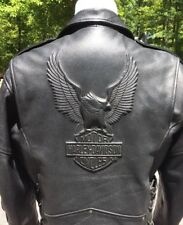 Harley Davidson CRUISER II Leather Jacket Men's XL Embossed Eagle Black