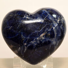 """2.6"""" Rich Blue Sodalite Puffy Heart Natural Crystal Palm Stone Mineral - Africa"""