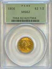 PCGS MS62 1906 $2.5 Liberty Gold Coin.! Choice BU.! OGH.!